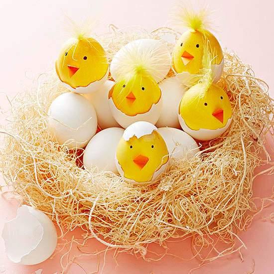 Chick Easter Eggs in Nest