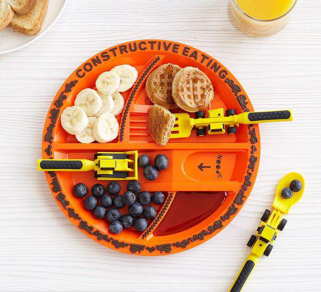 construction plate and utensils